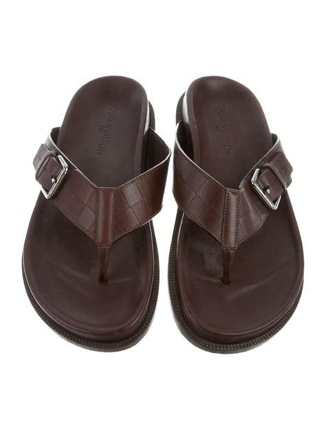 louis vuitton mens sandals louis vuitton damier leather sandals shoes lou136788