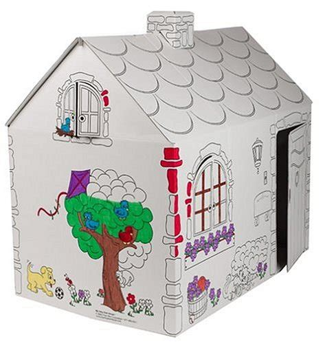 cardboard playhouse to color large cardboard cottage for to color and play inside
