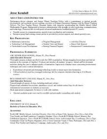exle education instructor resume free sle
