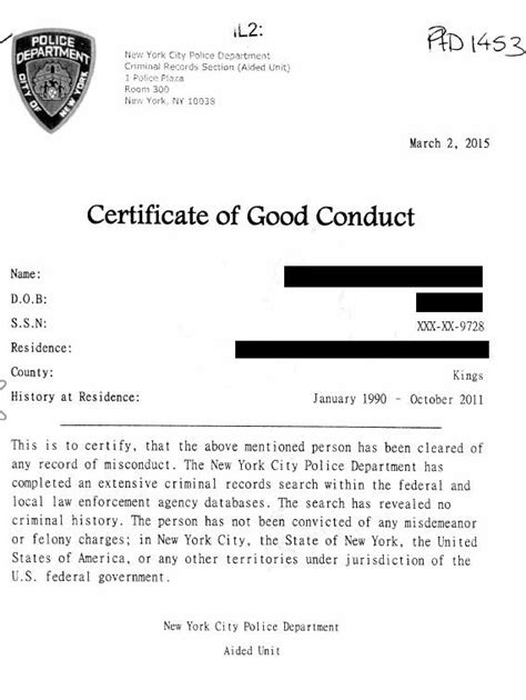 certificate of conduct template documents legalized apoling solutions nyc