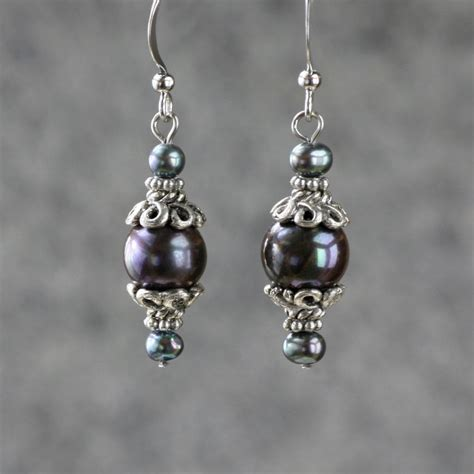 Handmade Earring Ideas - black pearl drop earrings bridesmaids gifts free us shipping