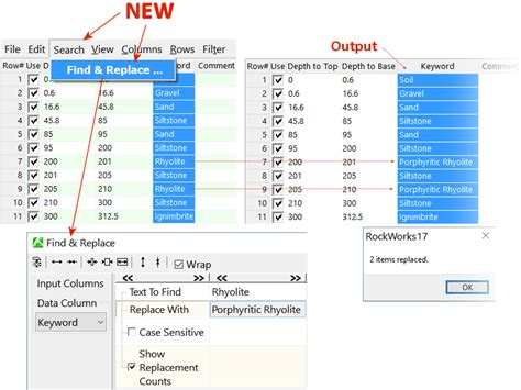 replace tool find replace tool added to rockworks17 datasheet editor