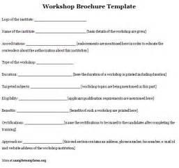 Workshop Templates by Brochure Template For Workshop Format Of Workshop