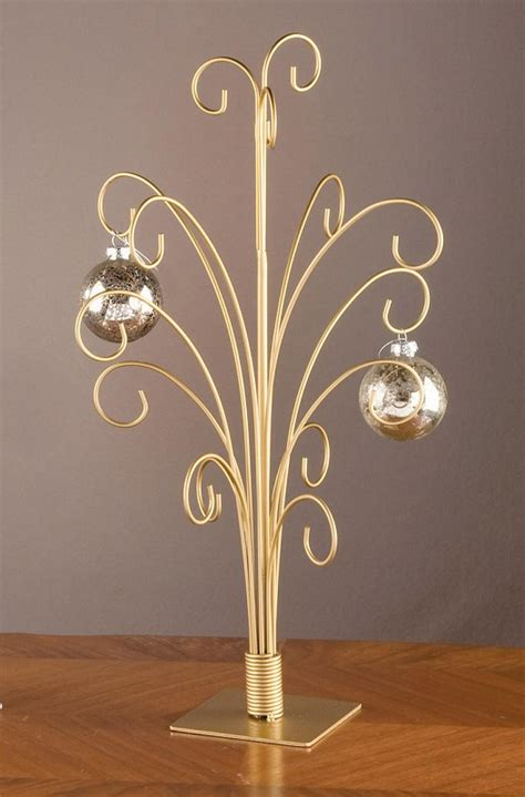 20 quot gold toned metal christmas ornament display tree stand