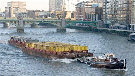 thames river uses ocean bulk transport ships for plastic waste solar and