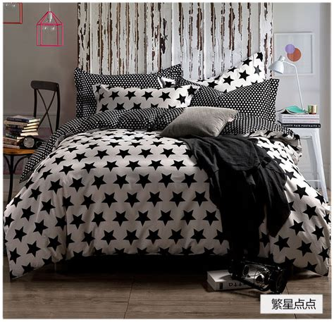 star bed black and white stars bedding sets 4pcs bed set 100
