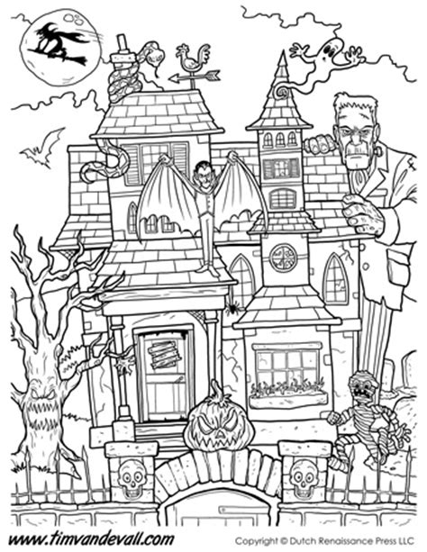 haunted house coloring page printable tim van de vall comics printables for kids