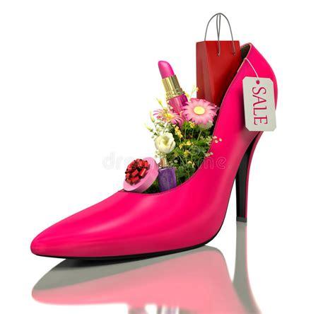 acquisto fiori acquisto e fiori dentro le scarpe illustrazione di stock