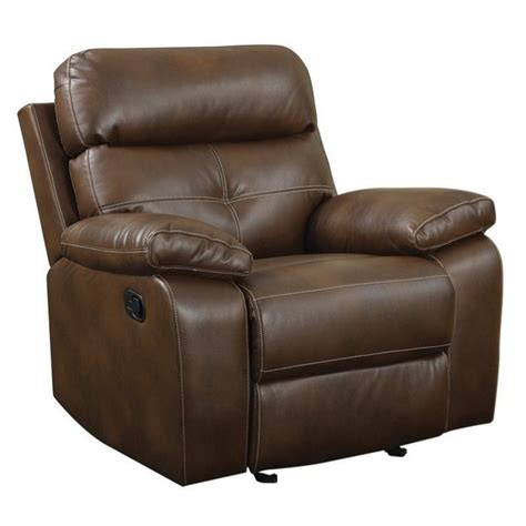 coaster recliners coaster damiano faux leather motion glider recliner in