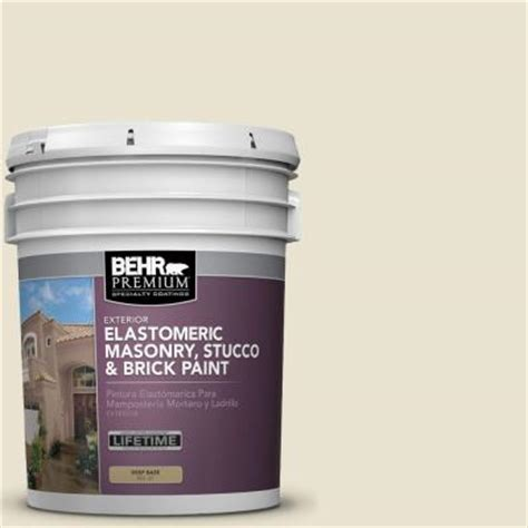 behr 5 gal white satin masonry stucco and brick paint 28005 the home depot