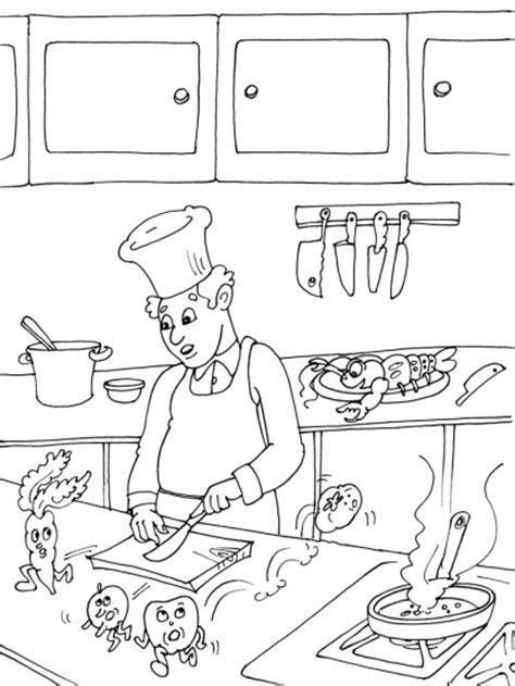 dessin de cuisine à imprimer coloriage cuisinier dans une cuisine 224 imprimer