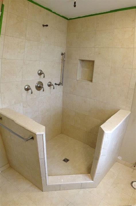 bathroom tile kits stand up shower with knee walls schluter shower kit