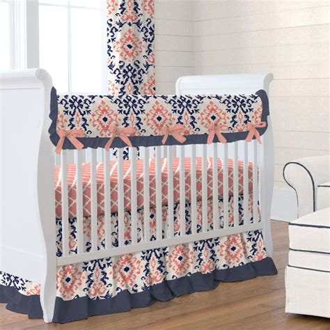 Navy And Coral Ikat Crib Skirt Gathered Carousel Designs Baby Crib Sheets