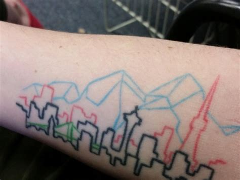 seattle skyline tattoo seattle skyline tattoos pictures to pin on