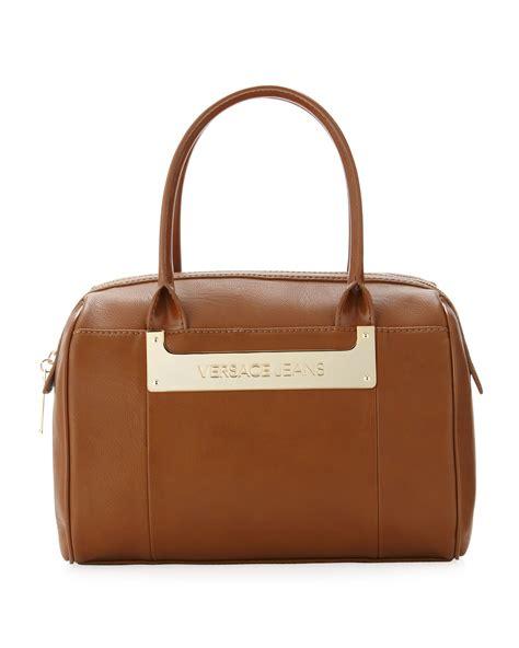 Versace Icon Satchel by Versace Couture Metal Logo Satchel Bag Camel In