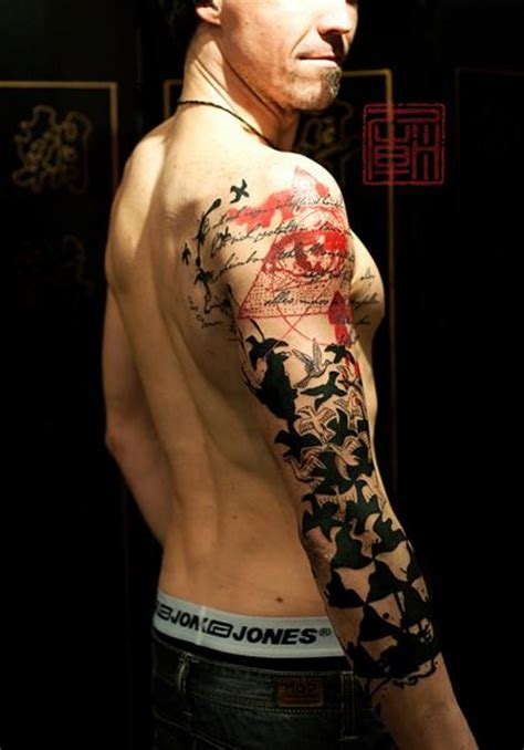 tattoo modern gallery modern style colored geometrical tattoo on sleeve combined
