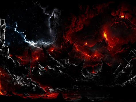 dark volcano smoke eruption lava fantasy landscapes stars