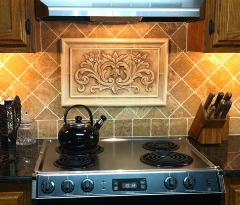 Kitchen Tile Murals Tile Art Backsplashes by Kitchen Backsplash Using Floral Tile And Plain Frame Liners