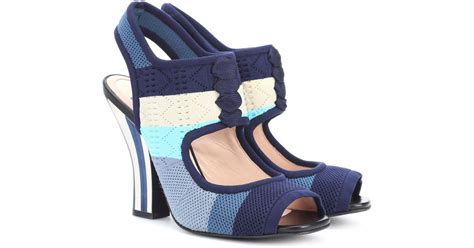 knitted sandals lyst fendi knitted sandals in blue