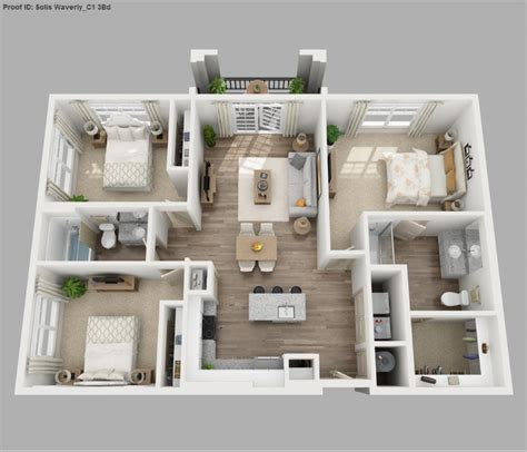 three bedroom apartment 3d floor plans floor plans and