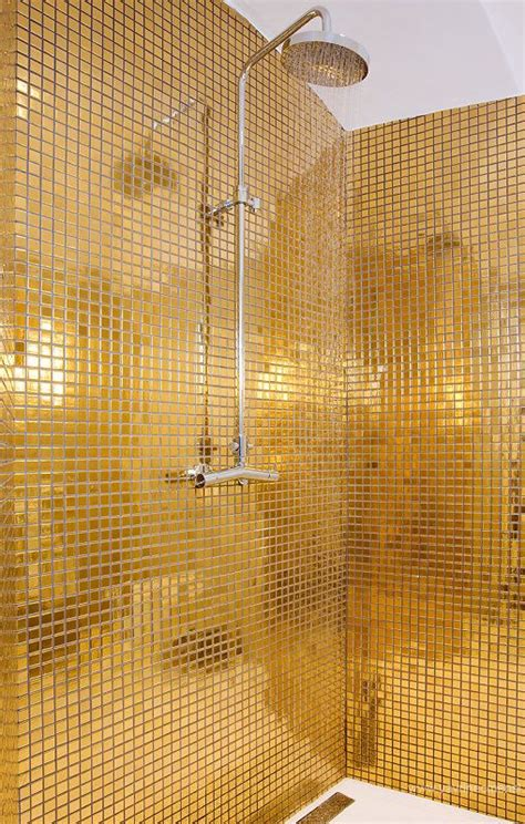 metallic gold mosaic bath tiles disco homes