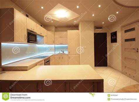 Luxury Kitchen Lighting Modern Luxury Kitchen With White Led Lighting Stock Image Image Of Design Architecture 45452567