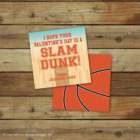 basketball valentines printable basketball s day card slam dunk