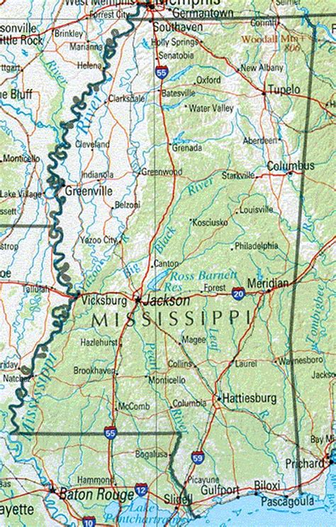 mississippi physical map mississippi maps and state information