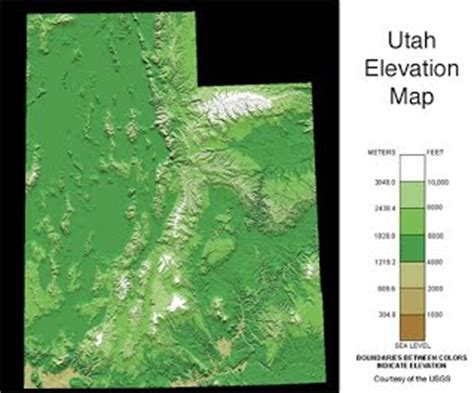 utah elevation map geography facts about utah