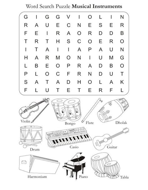 printable music activity sheets color in pages word search puzzle musical instruments