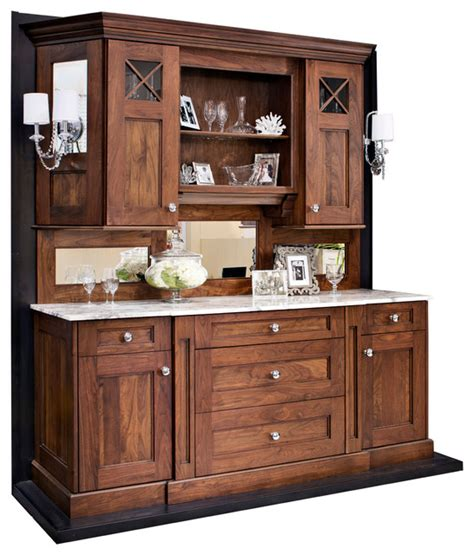 Kitchen Buffet And Hutch Furniture Walnut Hutch Buffet Or Bar Traditional San Francisco