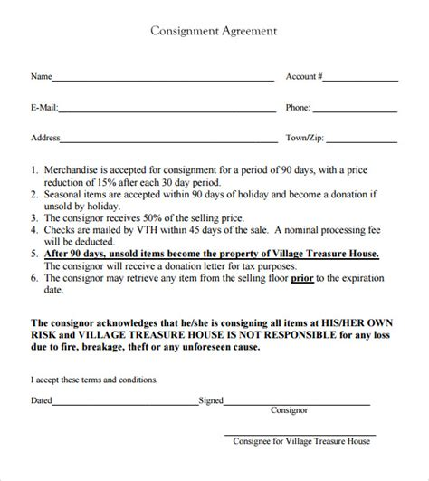 consignment store contract template consignment agreement 9 free sles exles format