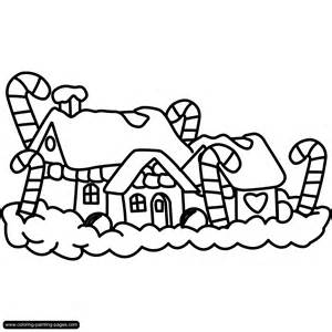 Christmas Village Houses Coloring Pages House sketch template