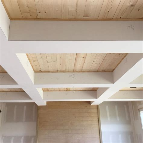 Pine Ceiling Boards Check Out The Wood In Our Coffered Ceiling Simple Pine