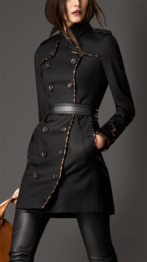 Burberry Style Leather burberry midlength animal print leather trim trench coat