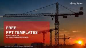 Construction Powerpoint Template by Construction Crane At Sunset Powerpoint Templates