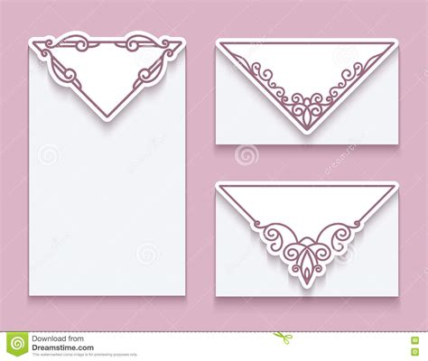decorative cards and envelopes envelope templates with corner ornament stock vector