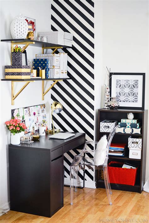Stripe Office by How To Create A Striped Accent Wall Without Paint Homey
