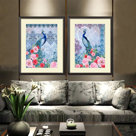 Framed Wall Pictures For Living Room by New 2 Pieces Modern Wall Abstract Peacock With Acrylic