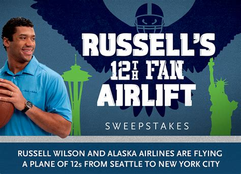 Seahawks Sweepstakes - alaska airlines russell s 12th fan airlift sweepstakes 56 guest will win a super