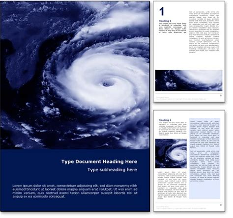 Royalty Free Hurricane Weather Microsoft Word Template In Blue Hurricane Powerpoint Template Free