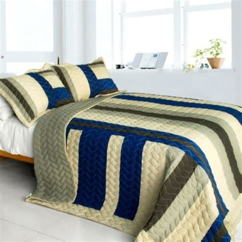 road to 3pc vermicelli quilted patchwork quilt set