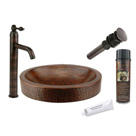 premier copper products premier copper products all in one compact oval skirted vessel hammered copper bathroom sink in