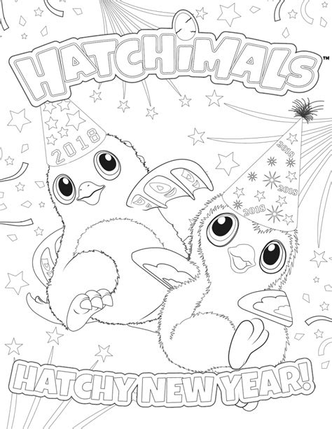new year coloring page hatchimals happy new year 2018 page de coloriage