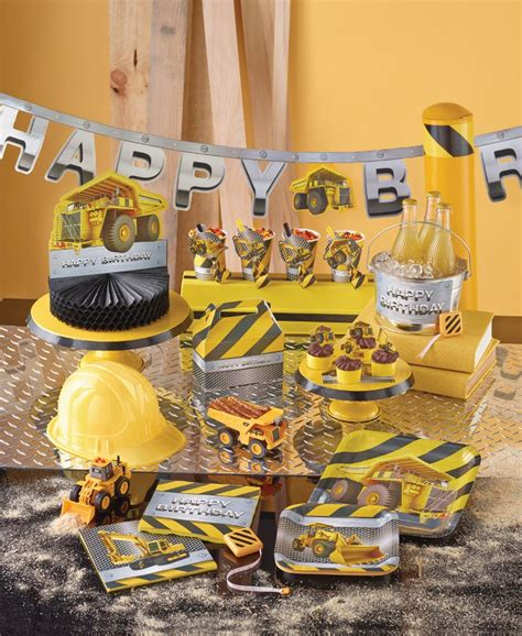 construction themed birthday supplies my paper shop com put on your hard hat and get ready to