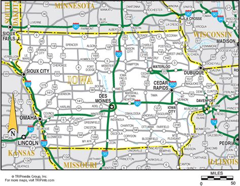 detailed map of iowa iowa map