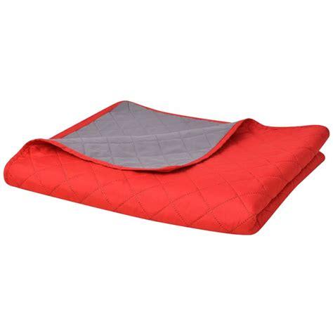 steppdecke kaufen vidaxl zweiseitige steppdecke tagesdecke rot grau