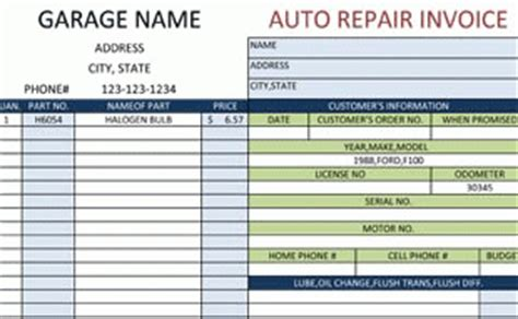 Invoice Template Auto Repair Warranty Template