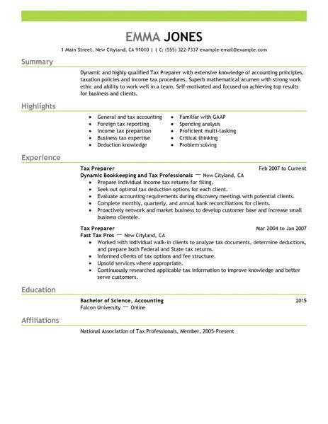 resume of tax preparer sle resume writing format
