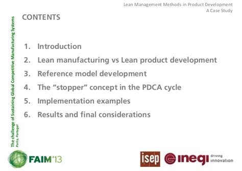 lean management methods in product development a case study